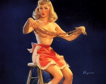 ELVGREN - THIS STICKS  - Apron, Pin-Up Burlesque Stockings Art deco Lingerie Wwii 1940's Nose Art Pinup