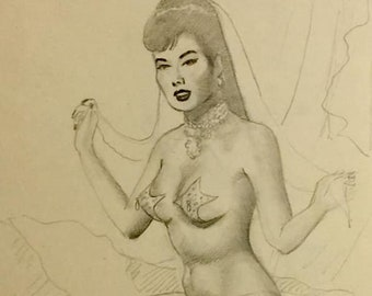 Sale! Ted WITHERS Original Vintage Pin-Up Drawing ASIAN MERMAID 1950s Pinup Burlesque, legs Pinup Nude worked with Elvgren