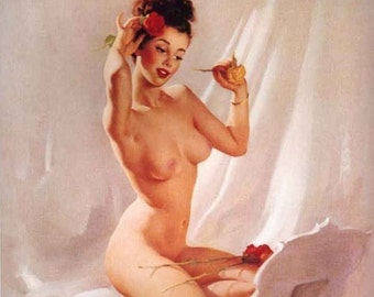 Sale!  ELVGREN - PERFECTION -12x18 Made from the Original Painting! NUDE pin-up, vintage 1940s pinup