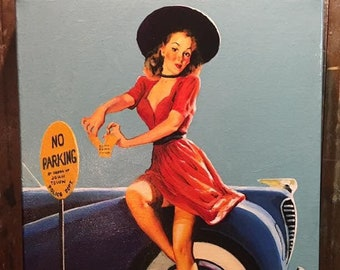 Sale 20x24 Canvas Gil Elvgren NOBODY PINCHES ME Hot Rod Pinup up skirt sheer nylons stockings Pin-Up Auto Convertible Gas Vintage Vanguard