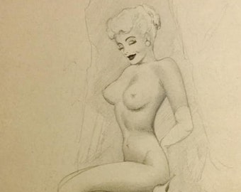 BEST Ted WITHERS Original Vintage PINUP like Marilyn Monroe last offered, Burlesque legs Nude worked with Elvgren, Moran, Zoe Mozert, Pin-Up