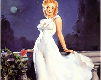 ELVGREN - DREAM GIRL - 8x11 Glamour Girl Pinup in the Moon Light Romantic Pin-Up Roses looks Norma Jean Marilyn Monroe