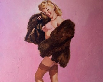 Sale Gil Elvgren IN The PINK Original Painting Pin-Up Lingerie FF cuban nylon Stockings pinup by Daniel Vancas Sheer Bra Panties garter belt