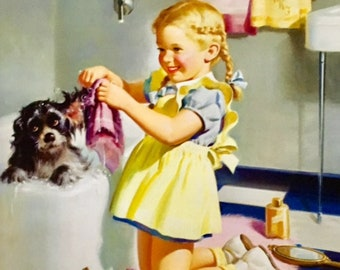 BATH TIME PUPPY Art Frahm Sale Baby Shower Large Apx 20x20 Canvas 40s Retro Puppy Dog Vintage Bath room Nursery children Calendar Pinups Art