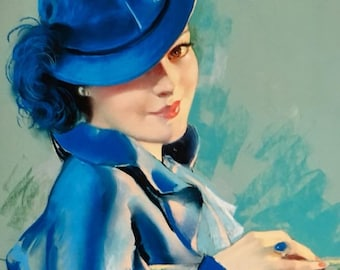 Lady In Blue 24x20 Canvas  BRADSHAW CRANDELL 30s Vintage Romance Glamour Art Deco Pin-Up - Cosmopolitan Illustrator of 30's,40s 50s - Pinup