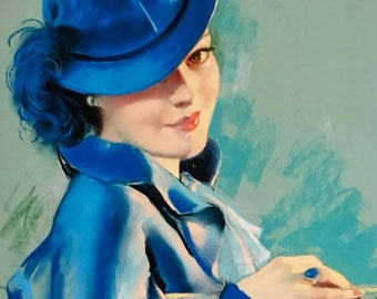 Lady In Blue 12X18 BRADSHAW CRANDELL 30s Vintage Romance Glamour Art Deco Pin-Up - Cosmopolitan Illustrator of 30's,40s 50s - Pinup