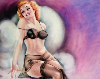 8x11 BURLESQUE Pinup Girl Art Deco 1930's Pin-Up - Nylons Stockings, Garters Panties, sheer see through Lingerie Midcentury Modern  Fantasy