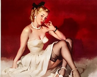 Super Sale 20x24 Canvas ELVGREN - YOUR MOVE  - Pinup - Romantic Flirting exposes garters, nylons, stockings, board games, checkers, Pin-Up