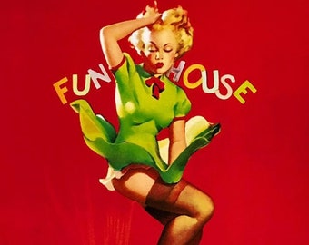 Gil Elvgren FUN HOUSE Original Painting Pin-Up Marilyn styled WW2 Up Skirt Legs Full Fashioned Stockings pinup garters panty Daniel Vancas