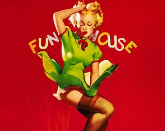 Super SALE  ELVGREN Pin-Up FUNHOUSE Upskirt Nylons Stocking WwII Bomber Nose 1940s Art Pinup Canvas Giclee Vanguard Gallery Illustration Art
