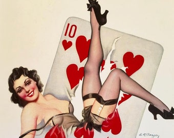 HEARTS WIN 8x11 BURLESQUE Poker Pinup Girl By Bergey Art Deco 1930's Pin-Up  Up Skirt, nylons Stockings, Garters Midcentury Modern  Fantasy