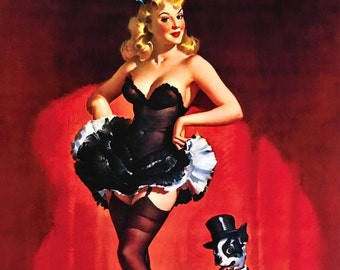 Lucky Dog SaLe! ELVGREN pinup showgirls BURLESQUE 8x11 Pin-Up Boston Terrier  lingerie stockings, Crinoline, nylons Giclee  PINUPS