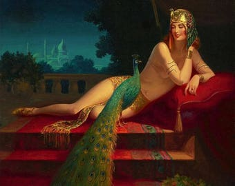 EGGLESTON Large 20x24 Canvas Egyptian HAREM BELLY Dancer Peacock Clive Illustration Fantasy Lingerie Nude Deco Art Nouveau Glamour Pinup