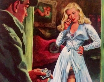 Sale ORIGINAL Painting  20x24 Canvas Police DETECTIVE and Pin-Up Pulp Art FBI Gangster Illustration Art Deco Film Noir Movies G-Man Pin-up