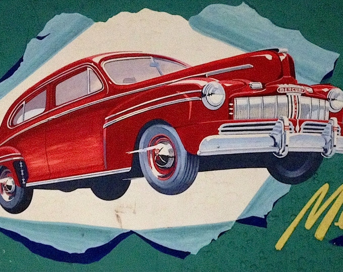 Featured listing image: Sale! 1946 MERCURY ORIGINAL PAINTING - Vintage Illustration Midcentury Modern Rare 1 of a Kind 40's for Billboard advertising  Hot Rod Coupe