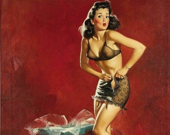 Gil Elvgren GOING To WAIST Original Painting Pin-Up Brunette See Through Lingerie Legs Full Fashioned Stockings pinup garters panty Vancas