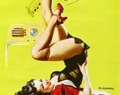 SUPER Sale Canvas 24x18 Elvgren STATION WOW Catalin 30s Bakelite Radio Retro Pinup Stockings Nylons pin-up Panties Vintage Lingerie Fantasy