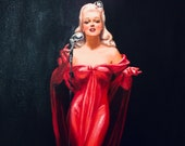 HUGE 22x40 LADY in RED Pin-Up Daniel Vancas of Big Band Jazz Singer PinUp Anita O 39 Day Deco Vintage Radio Microphone sheer Red Dress gown
