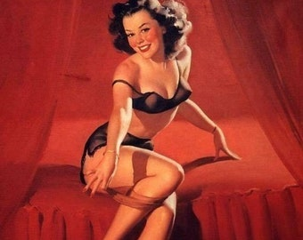 Gil Elvgren JUST RETIRING Original Painting Pin-Up Brunette See Through Lingerie Legs Full Fashioned Stockings pinup garters panty Vancas