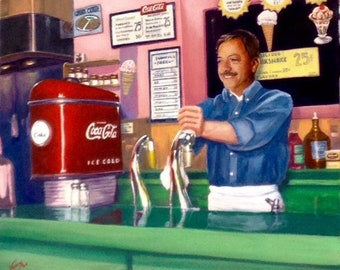 Large 20x24 Canvas  SODA JERK by Daniel VANCAS 1950s Soda Ice Cream Fountain, Coca-Cola, Coke, Soda Pop, Americana, 30s Art Deco, Diner Cafe