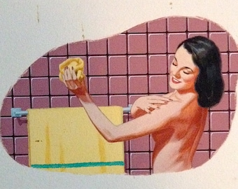 SUPER SaLe Vintage Illustration MIDCENTURY Modern BATHROOM 4 Original Paintings Rare 1 of Kind 1950's Pinup Home Modern Advertising  Pin-Up
