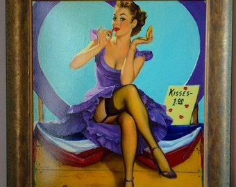 Estate Sale! ELVGREN - KISSES for 1 DOLLAR Original Painting 24x20- Rare famous Pinup Vancas of Up Skirt Pin-Up Exposes Nylons Stockings