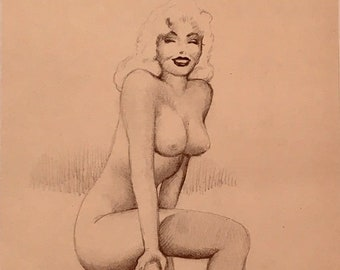 Marilyn Monroe TED WITHERS of HOLLYWOOD 1950s Original Drawing Pin-Up Nude Vintage Pinup Beach Fence Vintage Pinup