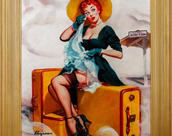 Featured listing image: Estate Sale! ELVGREN - WELCOME TRAVELER Original Painting 30X24 Train Station Rare Pinup Vancas of Up Skirt Pin-Up Exposes Nylons Stockings