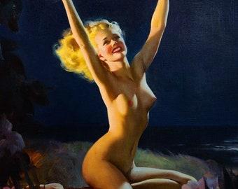 ELVGREN - ISLAND MEMORIES -8 X 11 Gay Nymph Pinup - Calendar - Hula - Hawaiian Tiki Pin-Up Art Deco Signed