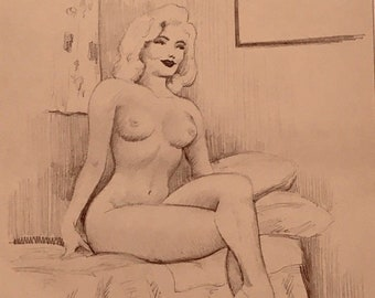 Marilyn Monroe TED WITHERS of HOLLYWOOD 1950s Original Drawing Nude Vintage Pinup legs heels Vintage Pin-Up