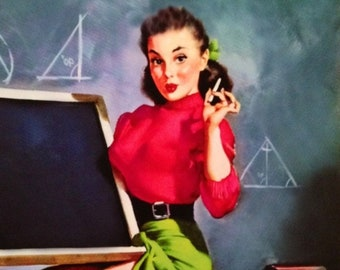 Gil Elvgren TEACHER PASSING GRADE Original Daniel Vancas Painting Pin-Up Up Skirt Lingerie Full Fashioned Sheer Stockings pinup garter belt