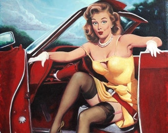 Gil ELVGREN STEPING OUT Hot Rod Burlesque Pinup Calendar upskirt sheer nylons stockings Pin-Up Automobile Convertible Gas Station Vintage