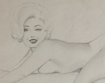 Ted WITHERS Original Vintage Drawing MARILYN 62 PINUP MidCentury Larger legs Nude worked with Elvgren Moran, Zoe Mozert Pin-Up Larger 11X8.5