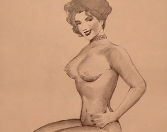 TED WITHERS of HOLLYWOOD 1950s Original Pin-Up Drawing Brunette legs Beauty Pinup with Neck Choker