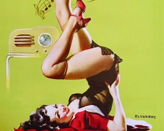 Gil Elvgren STATION WOW Original Painting Pin-Up Fada Catalin Radio WW2 UpSkirt Legs Full Fashioned Stockings pinup garters panty Vancas