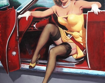 ELVGREN STEPPING OUT,  Convertible, Hot Rod, Pinup Stockings, Nylons, Dress Up Skirt Pin-Up, Exposes garters
