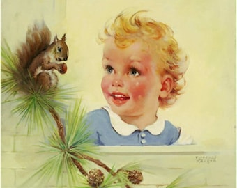 Large 20x24 canvas NEW FRIENDS Baby Toddler with Squirrel Baby Shower 30s vintage Nursery Illustration Children Room Calendar Pinups New Mom