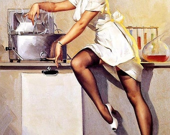 ELVGREN - WHATS COOKING  - Autoclave - Laboratory Pinup Nurse in Garters Nylons Stockings - Pin-Up 12x18