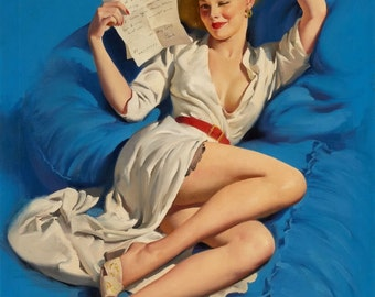 Sale Large Canvas TRUE BLUE ELVGREN Pin-Up Lingerie Nylons Stockings pinup Swing