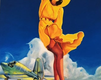 HUGE 48x40 Canvas Sale  ELVGREN TAILWIND Aviation Nose Art Deco Pin-Up Nylons Full Fashioned Stockings Up Skirt WwII Swing Tail Wind