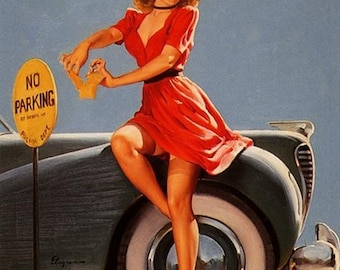 ELVGREN  Hot Rod Bad girl pin-up NOBODY PINCHING No Parking! Nylons stockings Up Skirt Cop, police 1940's pinup calendar Illustration art.