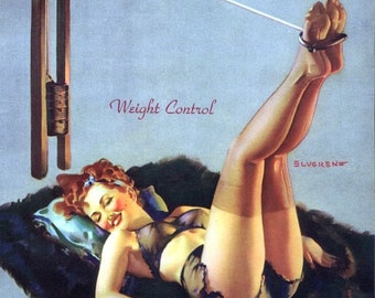 Gil Elvgren - WEIGHT CONTROL Pinup of WWII on Gym Equipment in black sheer see through lingerie, Bra and panties nylons stockings Pin-Up