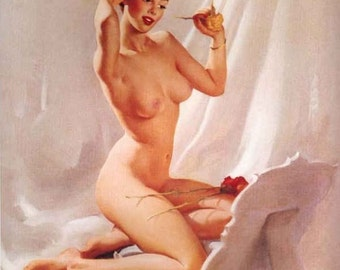 ELVGREN - PERFECTION  - Made from ORIGINAL Nude pinup 1940s Mid Century Pin-Up Giclee, signed numbered limited edition