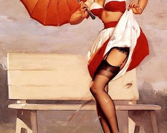 Sale  ELVGREN  GETTING SPOTTED Pin-Up Umbrella stockings nylons heels pinup Large Canvas