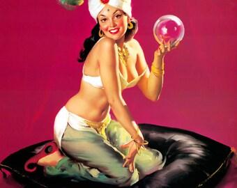 12x18 ELVGREN - I Dream of Genie - Retro BELLY DANCER Pinup - Stockings - Nylons pin-up Panties Vintage Dress Lingerie Fantasy - Signed art