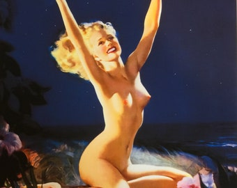 ELVGREN - ISLAND MEMORIES - Gay Nymph - 8x11 Pinup Hula Hawaiian  TiKi Nude Pin-Up signed