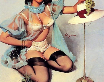 12x18 ELVGREN - TASTY TREAT- Giclee, signed, Pinup Lingerie, sheer stockings, garters, negligee, Bra Panties, Nylons, See Through Pin-Up