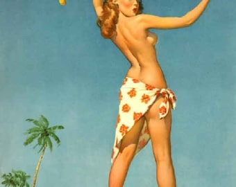 ELVGREN - TOPS Em ALL  Sarong Tropical Fruit Pin-Up Tiki Nude Deco Island Hula Hawaii Bahama Jamaica Vintage Calendar Travel Pinup