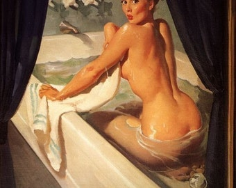 ELVGREN - JEEPERS PEEPERS - Pinup - Bathroom - Bath Tub - Retro Deco Pin-Up - Fine Art Print on Paper