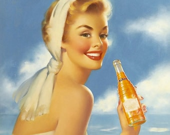 SUMMER TIME Runci 1950's Soda Pop Pin Up NESBITT'S Orange Ad Illustrations and Pinup Painter Golden Age Of Pinups